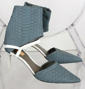 New Reed Krakoff sz 38 US 8 python snakeskin shoes heels ankle strap booties
