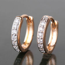 18ct Yellow gold filled Topaz Huggie earrings hoop Crystal White sapphire
