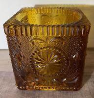 Vintage Indiana Glass Tiara Amber Square Candle Holder Rare Design