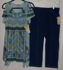 ONE WORLD SIZE L BLUE/GREEN MICRO JERSEY COLD SHOULDER TUNIC & CAPRI SET