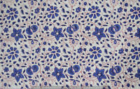 Indian 100% Cotton Voile Fabric Blue-White Sewing Hand Block Print Craft 10 yard