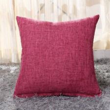 Cotton linen Solid color Pillow Case Sofa Throw Cushion Cover  Invisible Zipper