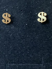 Signs Stud Earrings Bnwt Gold plated Dollar