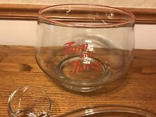 Rare Style Glass Tom & Jerry Punch Bowl Glass Ladle 12 Matching Glasses