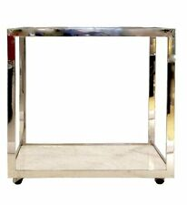 Milo Baughman Bar Cart Chrome & Carrera Marble Bar Cart- Cocktail Table