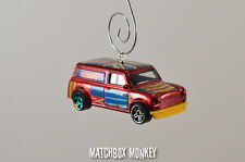 NEW Red Custom 1967 Austin Mini Van Christmas Ornament 1/64 Morris British Flag