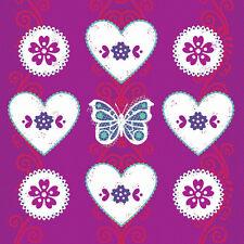 Hearts & Flowers Butterfly Birthday greetings card glitter detail blank inside