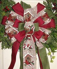 HANDMADE CHRISTMAS BOW BIRDHOUSE WIRED RIBBON for WREATH LANTERN GARLAND c #20