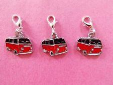 CLASSIC RED VW CAMPER VAN enamel clip on charm lobster clasp for charm bracelets