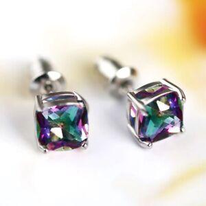 925 Sterling Silver 7MM Rainbow Mystic Square Topaz Stud Earrings UK Seller