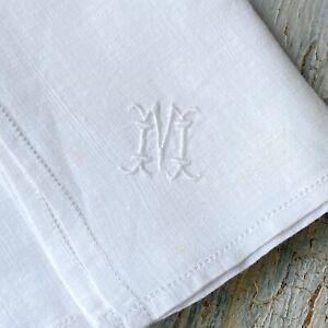 M monogram Antique French handkerchief late 1800s batiste linen pocket hanky
