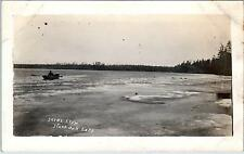 RPPC  BLACK OAK LAKE, WI Wisconsin   ROWER IN Choppy Water   c1910s    Postcard