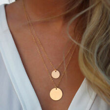 Women Fashion Jewelry Necklace Gold Circle Pendant Double Chain 46-8
