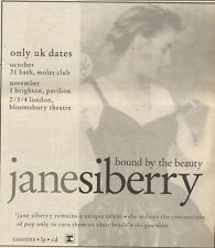28/10/89Pgn46 Advert: Jane Siberry 'bound By The Beauty' & Live Uk Dates 6x5