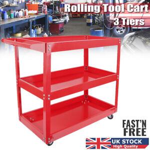 3 Tray Tool Storage Cart Rolling Wheel Utility Trolley Organizer Garage Workshop