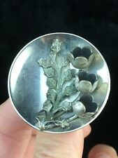 "Collectible Button Metal Steel OME 1.5"" with 3-D Floral Spray Shank Back"