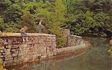 Mountain Home-Blanchard Springs AR Little Boys Fish From Stone Wall~White River