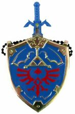 "The Legend of Zelda Hylian Shield & Link Master Sword Necklace Blue 25"" NIB"