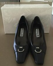 AS NEW  Black Italian Leather GIORGIA B Square Toe Court Shoe Size 36