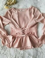 ChicWish Size S Blouse Pink Top Cinched Waist Bell Sleeves Chicwish