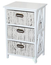 New Vintiquewise Antique Wood Cabinet with 3 Fabric Drawers, QI003161
