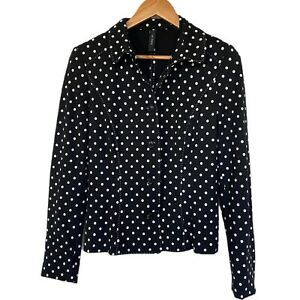 Marc Cain Black Jacket / White Polka Dots size N4 uk 12- 14 smart blazer
