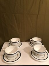 NAUTICA Signature Hot Chocolate Coffee Cups and Saucers 4 white blue stripes