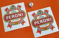 x2 PERONI Beer Sticker Decal Window,bar,bumper 95MM X 95MM
