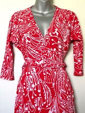 GUESS BY MARCIANO  JERSEY WRAP DRESS GEOMETRIC RED & WHITE SIZE XS