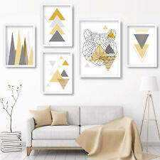 Geometric ART PRINT TIGER Nature GALLERY WALL Yellow Mono Poster Mix & Match