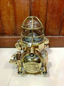 AUTHENTIC MARINE SHIP BRONZE SALVAGE FLAME PROOF CEILING LIGHT WITH BRASS CAGE