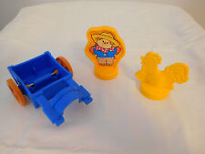 1999 Fisher Price Little People Animal Sounds Farm Cart, Scarecrow & Rooster