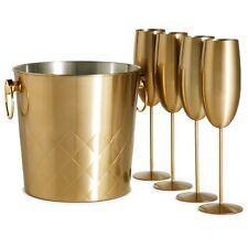 VonShef Champagne Bucket Wine Cooler Brushed Gold 4x Glasses 5L Capacity Gift