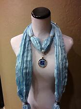 North Carolina Tarheels rhinestone pendant on a Blue Shimmer scarf! GO UNC!!
