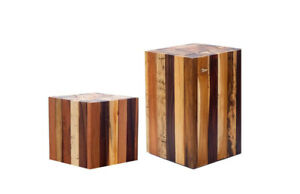 Side Table Wood Hocker From Driftwood - Square Wood Block From Mischholz
