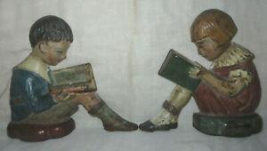 RARE ANTIQUE PAIR HUBLEY ARTLINE BOOKENDS BOY GIRL READING ORIGINAL PAINT