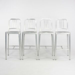 C. 2016 Set of 1 2 3 4 + Brushed Aluminum Emeco Navy Bar Height Stools 1006