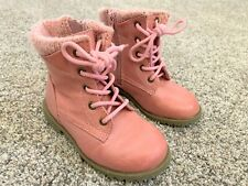 Toddler Girl's Pink Boots Size 8 Winter Boots Side Zipper Lace Up Ankle Boots