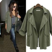 Army Green Women Long Sleeve Color Tops Jacket Coat Boyfriend Tee Shirt Cardigan