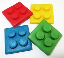 12 Lego inspired cupcake plaque toppers edible sugar fondant decorations 4.5 cm