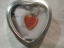 "Peach Cats Eye Solid Heart 18"" Silver Necklace w/Heart Box~Free Ship~LBDLB"
