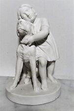 Royal Copenhagen white biscuit figure - Eneret ~ 1880 Sculptur Mädchen mit Hund
