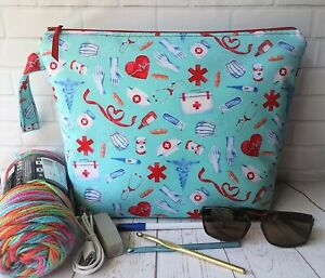Handmade Zipper Project Bag Knit Crochet Makeup Travel Storage Nurse Medical NEW