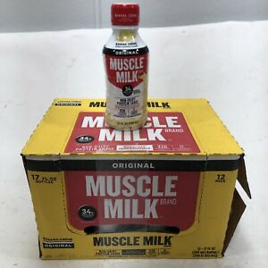 Muscle Milk Original Protein Shake, Banana Crème, 34g 17 Oz (12 Pack) EXP 08/21