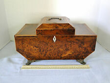 "ANTIQUE ENGLISH BURL (BURR) YEW WOOD WORK BOX  C. LATE 1700'S LARGE 14.5"" wide"