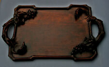 ANTIQUE CHINESE CARVED HARDWOOD TRAY TREE RATS GRAPE VINES SQUIRREL WINE