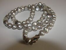 LOVELY STERLING SILVER BLACK FRESH WATER PEARL& QUARTZ NECKLACE