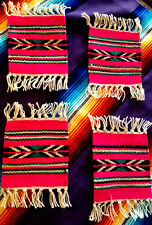"""New 4 Coasters Table Rugs 6x6"""" Handwoven Loomed  Southwestern!pink"""