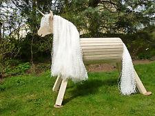 75cm Holzpferd Einhorn Voltigierpferd Spielpferd Pferd Pony unlasiert NEU