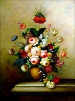 Stretched, Still Life with assorted Flowers, Hand Painted Oil Painting 36x48in